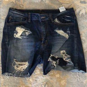 Kancan shorts distressed dark denim size 28